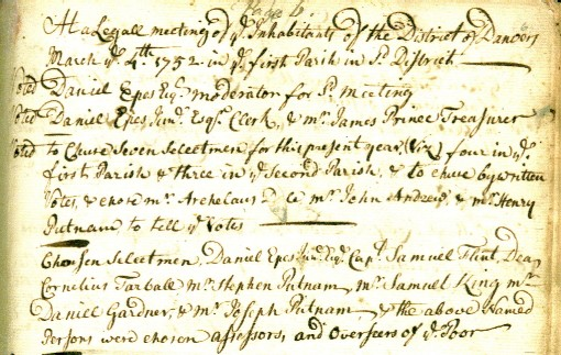 First meeting at Danvers on March 4, 1752.