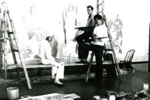 Painting the murals in 1934