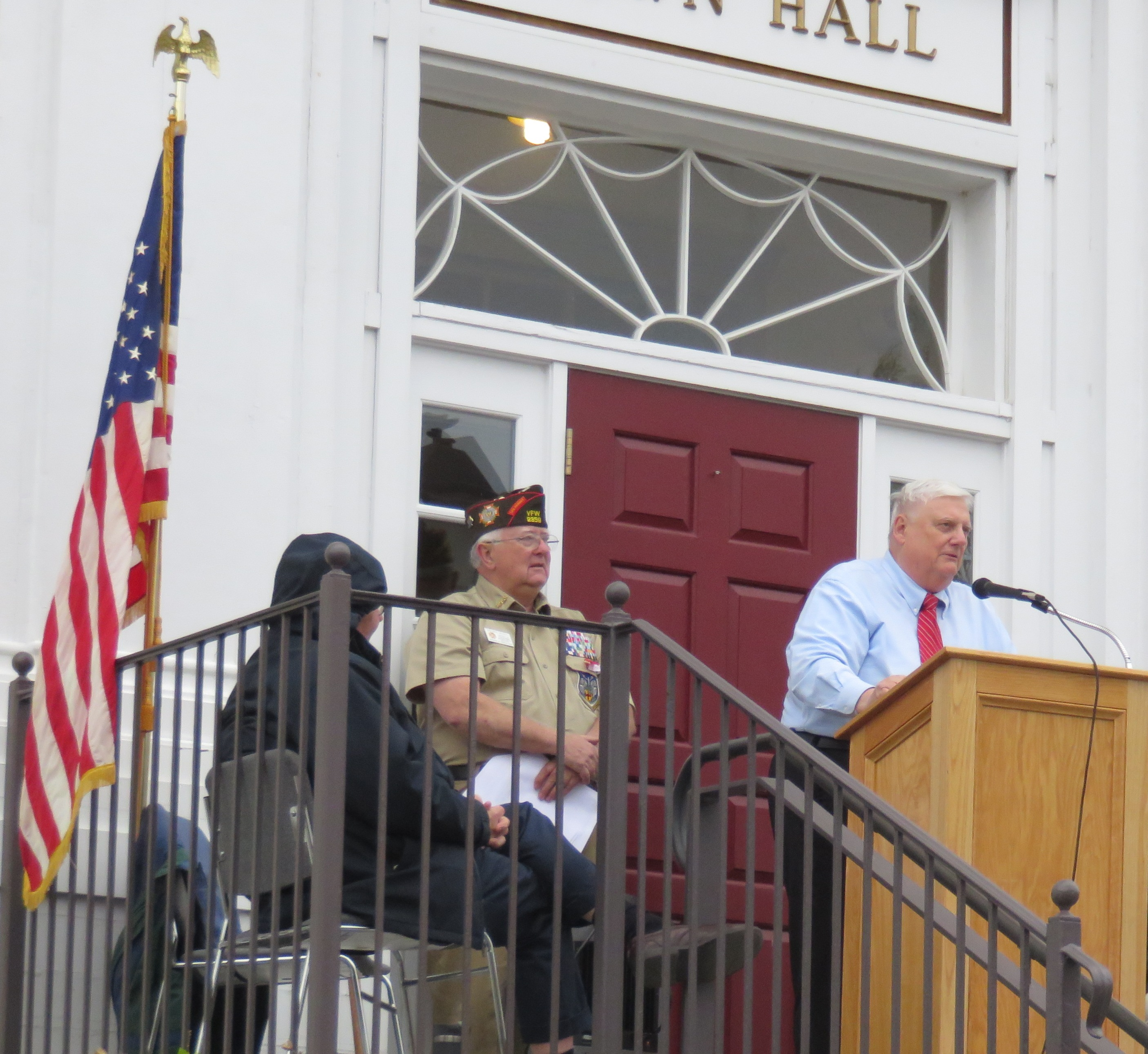 Richard Trask Speaks At Town Hall Watched Over By Operation Troop Support  Founder, And Local Veteransu0027 Officer, Lt. Col. Richard D. Moody.
